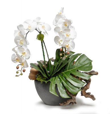 White Orchid with Monstero in Gunmetal Vase